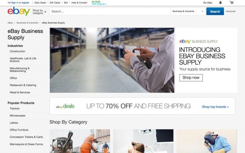 "Die neue Startseite von eBay Business Supply in den USA: ""Your supply source for business"" (Quelle: Screenshot ebay)."