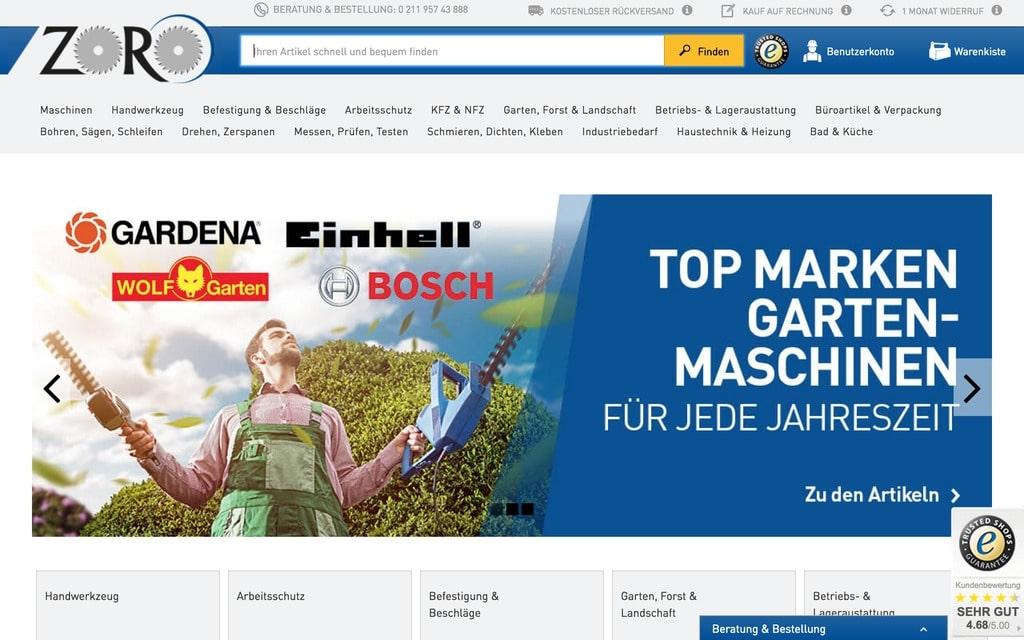 Frontendseitig noch nicht zu 100% im B2B angekommen: Die Startseite von Zoro Tools Europe (Quelle: Screenshot Zoro.de).
