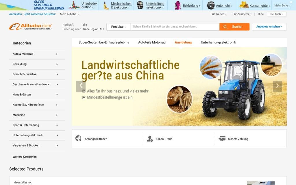 Abzüge in der A-Note: Alibaba.com hat in Deutschland noch orthographisches Verbesserungspotenzial (Quelle: https:/german.alibaba.com)