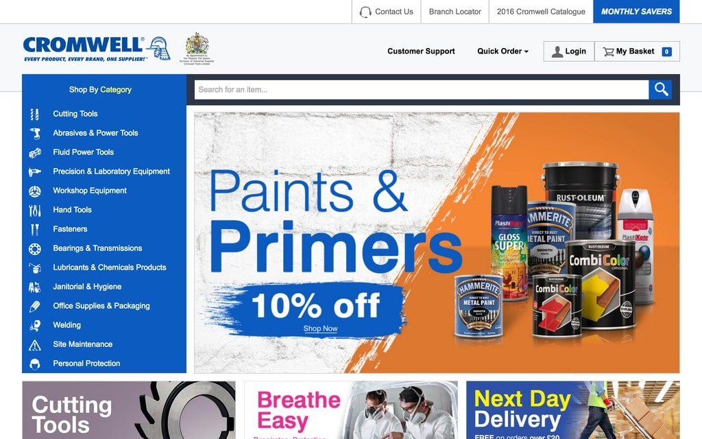Der Webauftritt vom Cromwell. Graingers weiterer Vorstoß in den europäischen B2B Digitalmarkt (Quelle: Cromwell.co.uk)