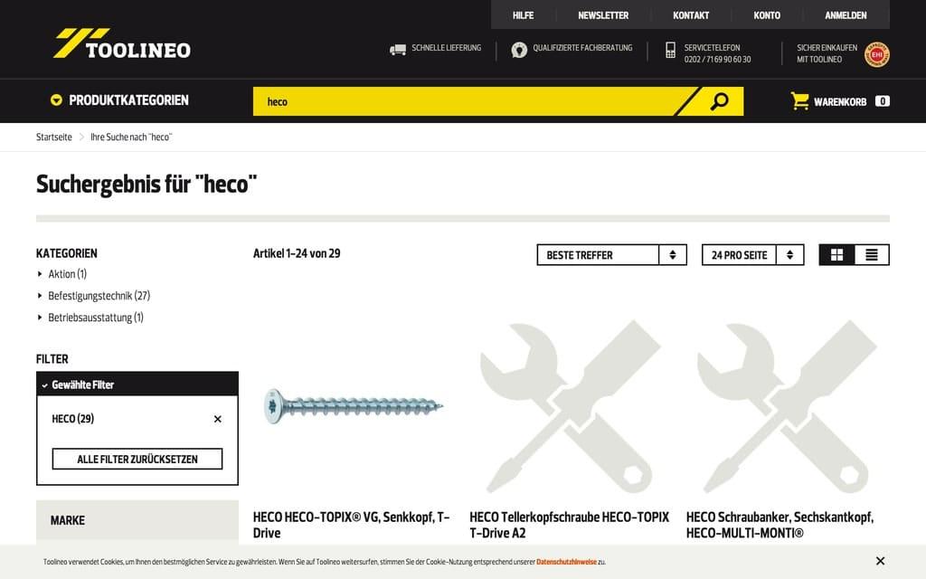 """High End Customer Experience: So sieht ein durchschnittlicher """"Markenshop"""" bei Toolineo aus (Quelle: toolineo.de, Stand: 19.12.2016)"""