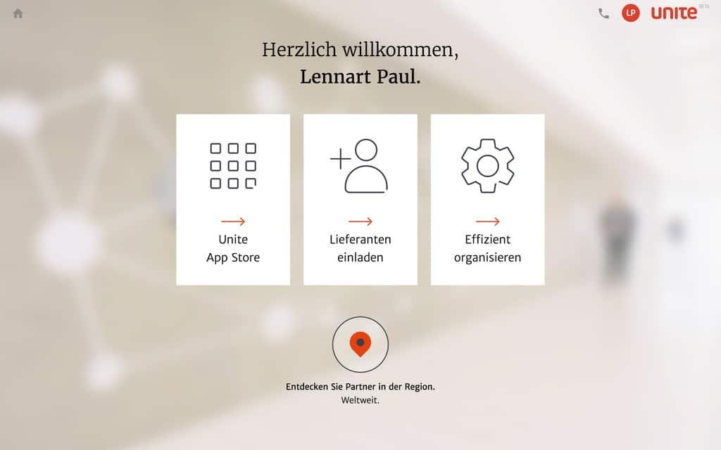 App Store, Lieferanten einladen und Effizient organisieren: Mercateo Unite kommt aus Kundensicht als flotte Online-Procurementplattform daher (Quelle: Screenshot unite.eu)