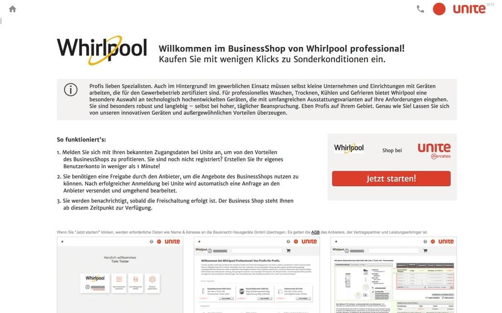 Whirlpool bietet seine Profigeräte über Unite an (Quelle: Screenshot unite.de)