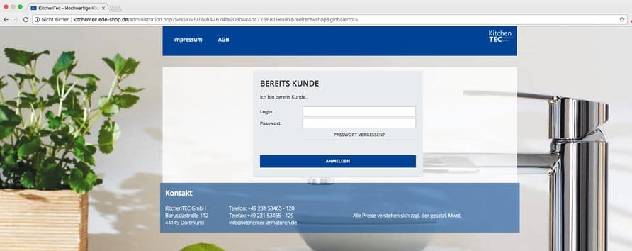 URL zum EDE-Shop.(Quelle: Screenshot Kitchentec-armaturen.de)