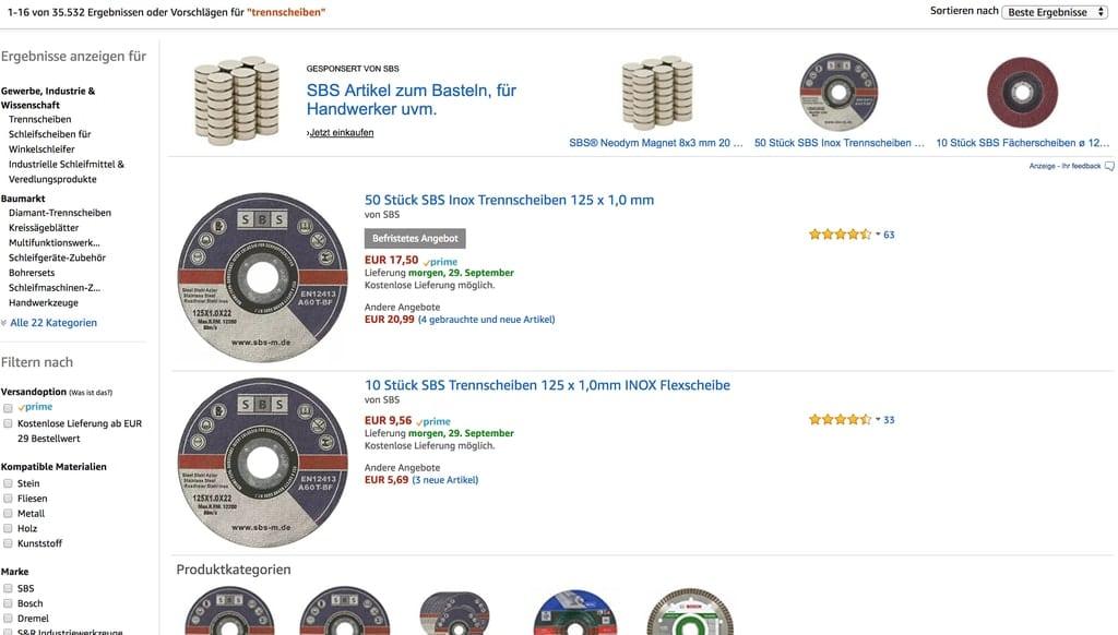 SBS Trennscheiben haben auf Amazon eine führende Position eingenommen (Quelle: Screenshot Amazon)