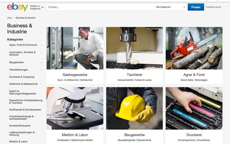 eBay Business & Industrie in Deutschland: bisher über den Kategoriestatus nicht hinausgekommen (Quelle: Screenshot ebay).