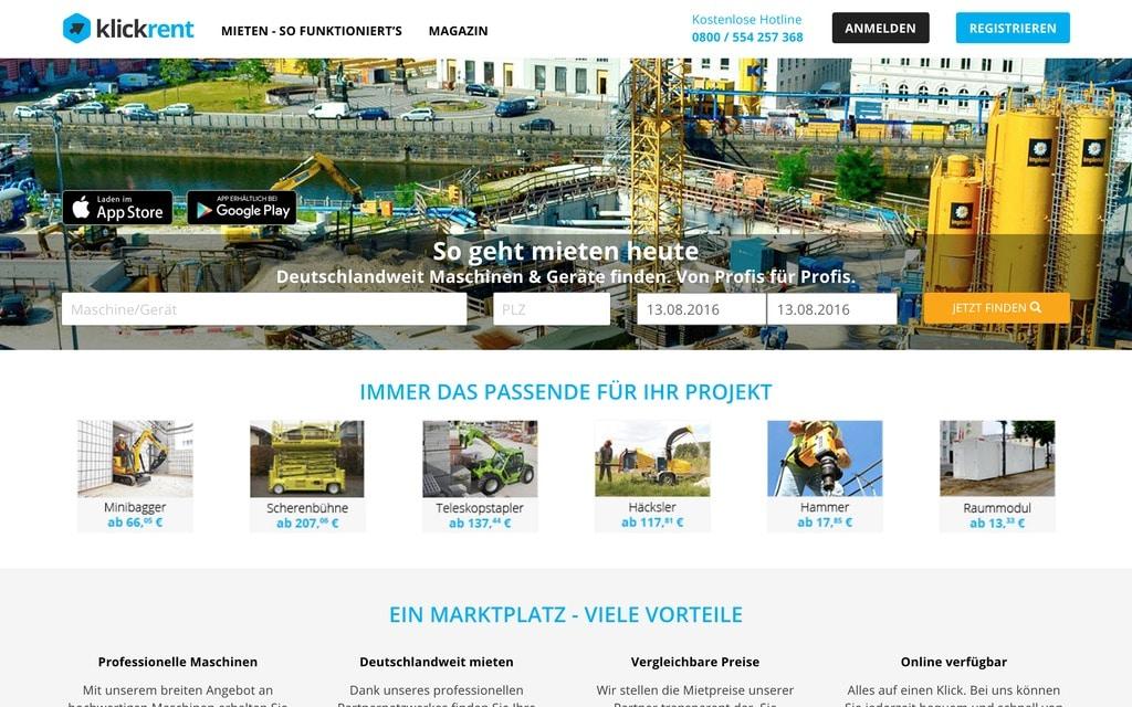 """Klickrent.de: Schon etwas """"disruptiver"""" aber trotzdem angenehm unaufgeregt langweilig: Baumaschinen online mieten (Quelle: Klickrent.de)"""