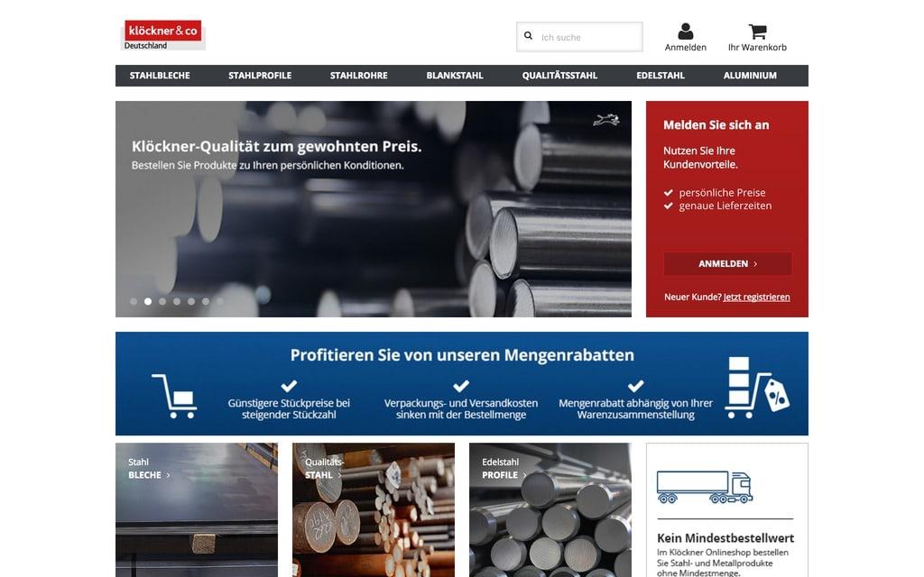 Der Klöckner Online Shop: Auf ihn wird von kloeckneri.de direkt verlinkt - aber braucht's dazu einen Digitalhub in Berlin? (Quelle: https://shop.kloeckner.de/)