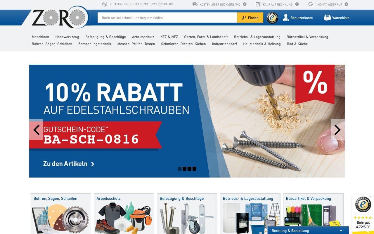 Zoro Tools Startseite im Oktober 2016: Mit Speck fängt man Mäuse, auch im B2B E-Commerce. (Quelle: zoro.de)