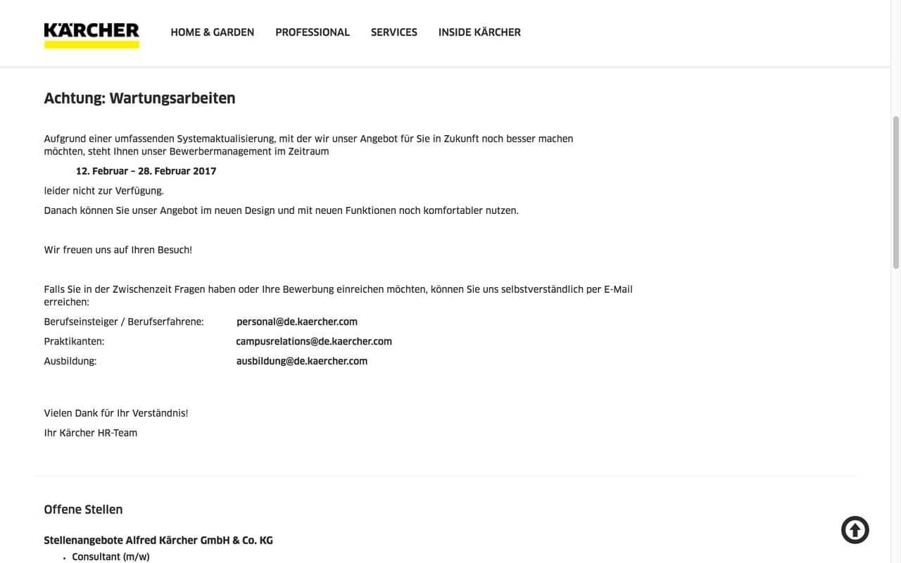 Ist wohl gerade auch in der Digital Transition: 16 Tage Maintenance beim Kärcher Jobportal (Quelle: Screenshot kaercher.de)