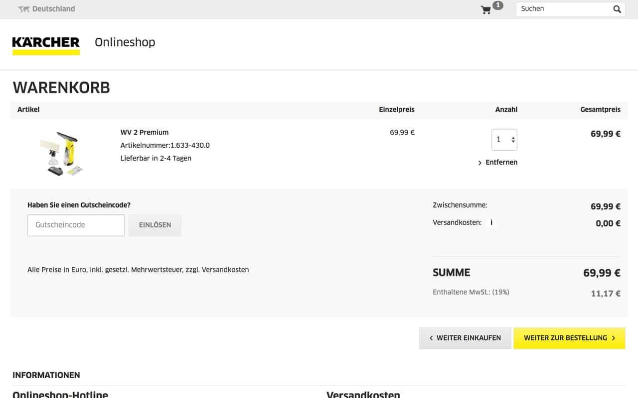 Zwar noch keine perfekte Customer Experience, aber eines der ersten D2C Modelle der Branche (Quelle: Screenshot kaercher.de)