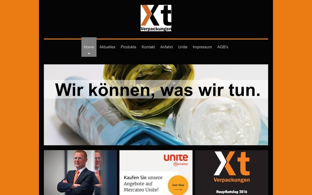 Prominenter Call-to-Action auf der Startseite von Xt Verpackungen (Quelle: Screenshot xt-verpackungen.de)