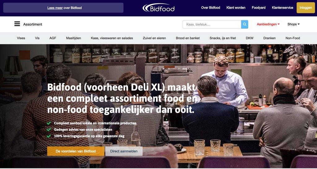 Startseite von Bidfood (ehem. Deli XL), Food Service Marktführer aus Holland. Nicht perfekt, aber unter den anderen Angeboten in diesem Markt ein UX-Goldstück (Quelle: Screenshot Bidfood.nl)