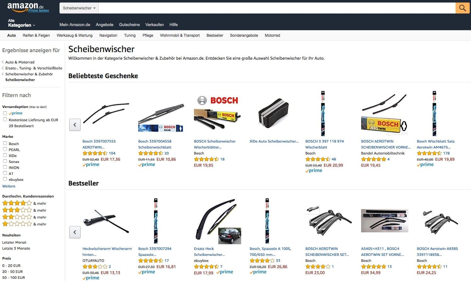NOCH überschaubar: Die Orientierung bei Scheibenwischern auf Amazon.com für Otto Normalverbraucher (Quelle: Screenshot Amazon.de)