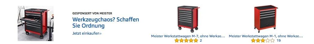 Meister-Werbung, Suchbegriff: Werkzeugwagen (Quelle: Screenshot Amazon)