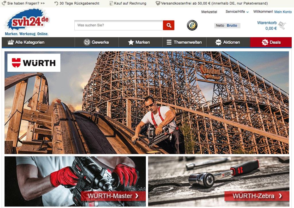 Der Würth-Markenshop auf svh24.de (Quelle: Screenshot svh24.de, Stand 11.06.2018)