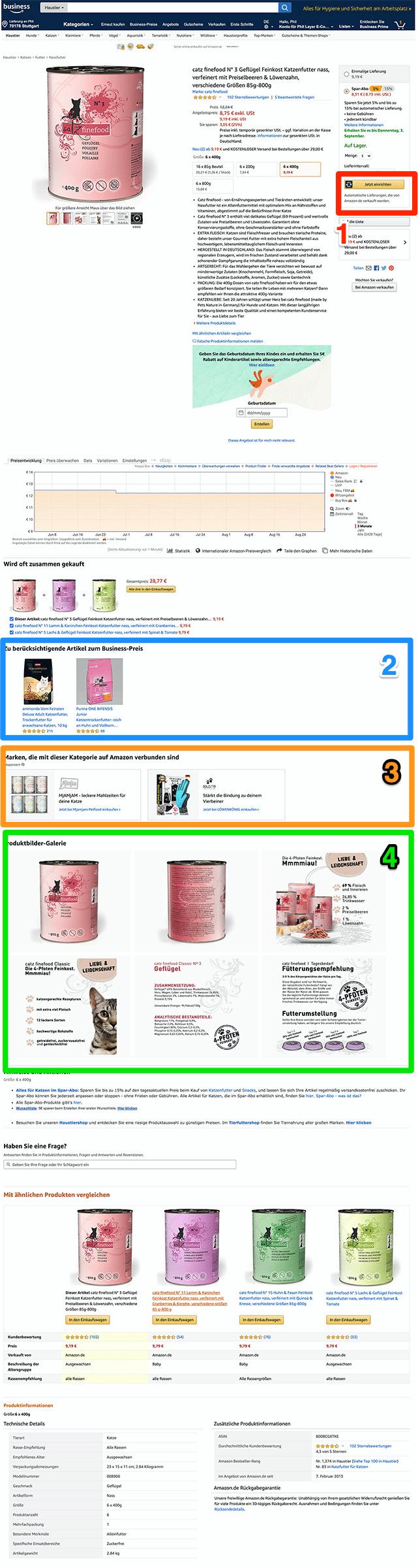 Amazon Produktdetailseite, Änderungen Mitte 2020